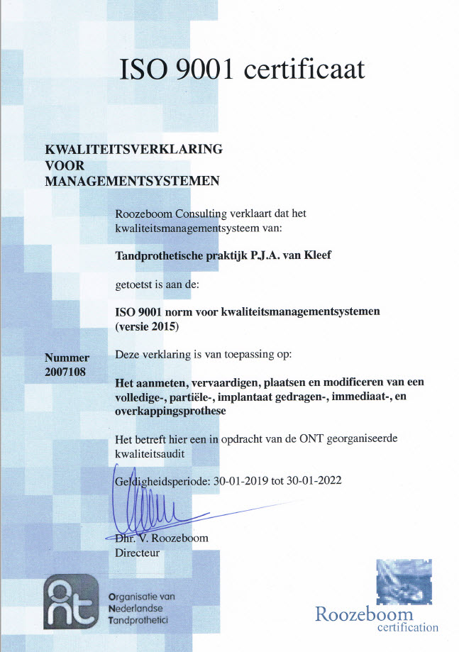 kwaliteit_ISO certicaat TPPvkleef Groningen | Veendam